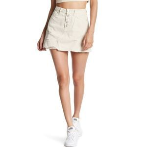 Free People We The Free Frayed Denim Skirt Size 25